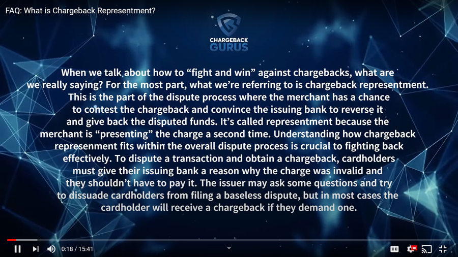 How chargeback represent works