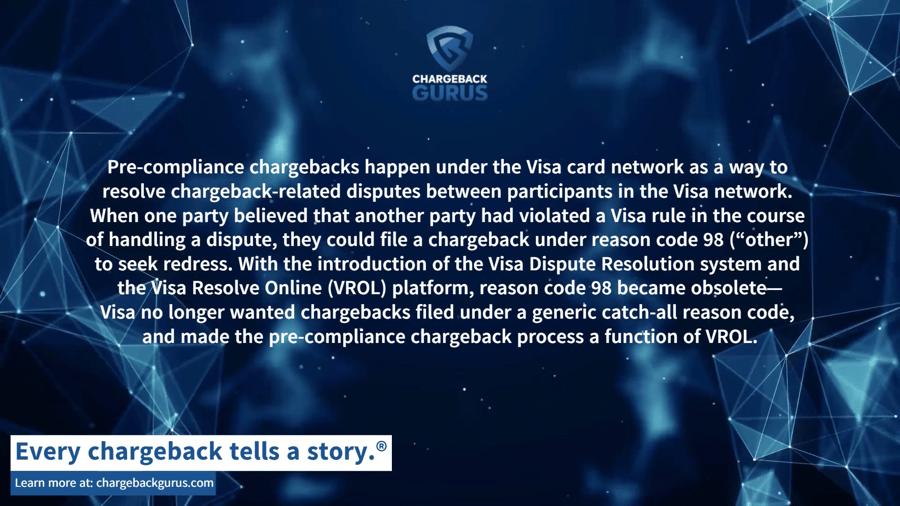 Pre-compliance chargebacks and VROL