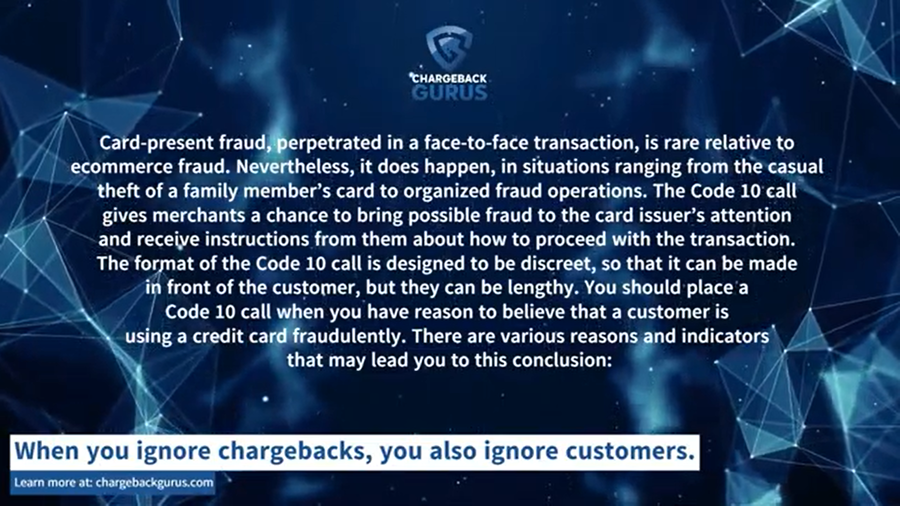 Code 10 and Card-present fraud