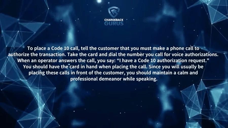 how to make code 10 authorization call
