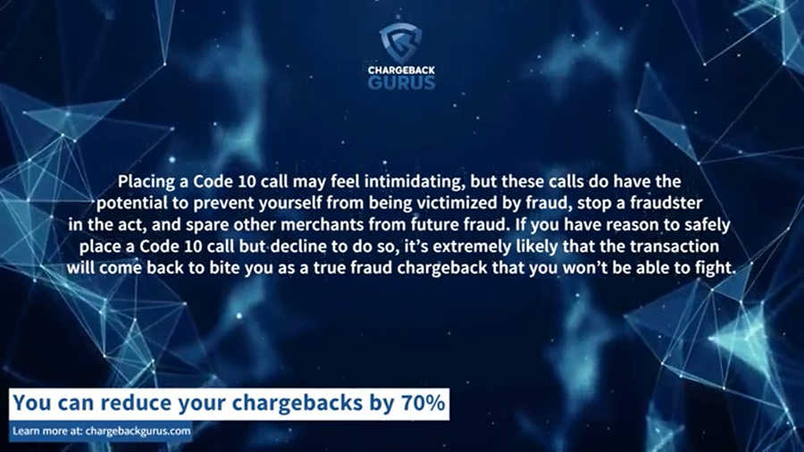 Code 10 authorizations and chargebacks