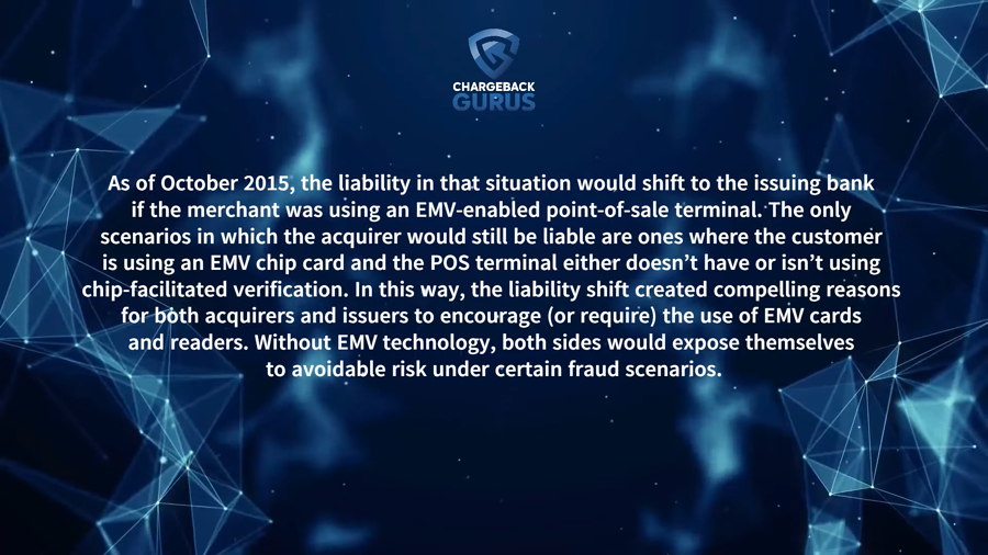 EMV chip fraudulent chargebacks