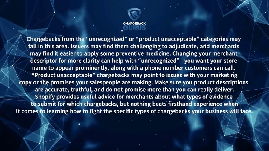 Shopify chargeback reasons